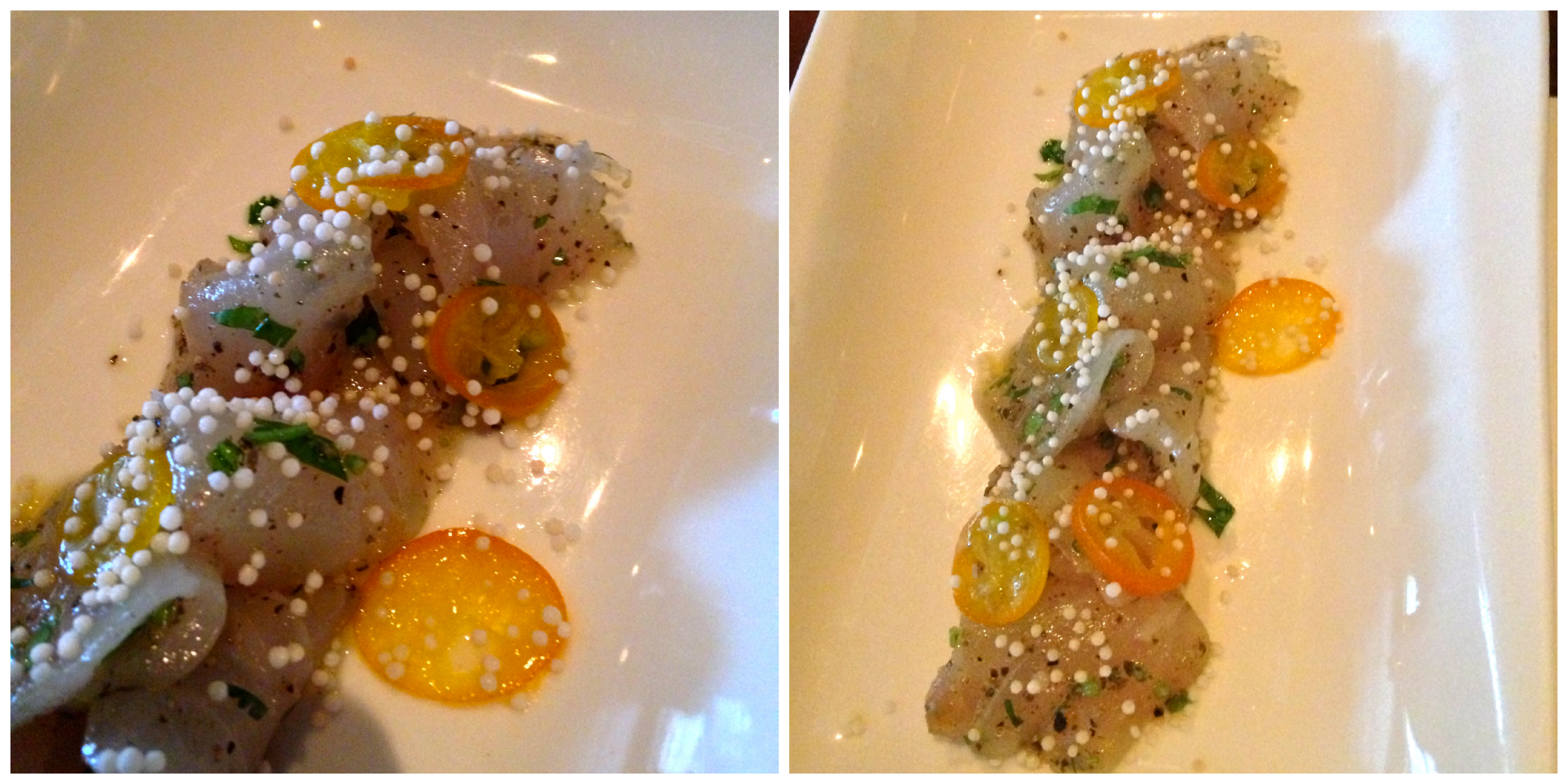 Striped Bass Crudo topped with peppercorns and kumquats