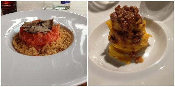 Pappa al pomodoro with summer truffles at Il Sorbo Allegro and Tagliatelle with bolognese ragu at Osteria Francescana