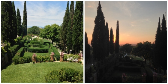 View from Villa Armena during the day and at sunset