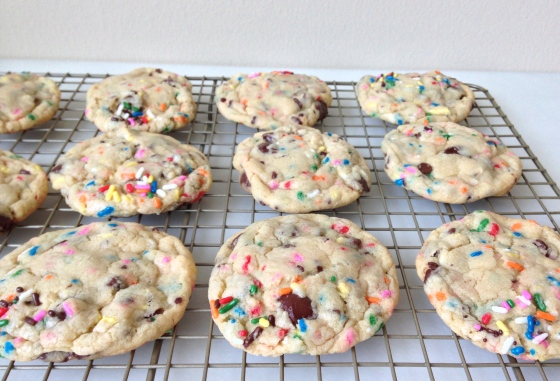 Cake Batter Chocolate Chip Cookies   Chez CateyLou