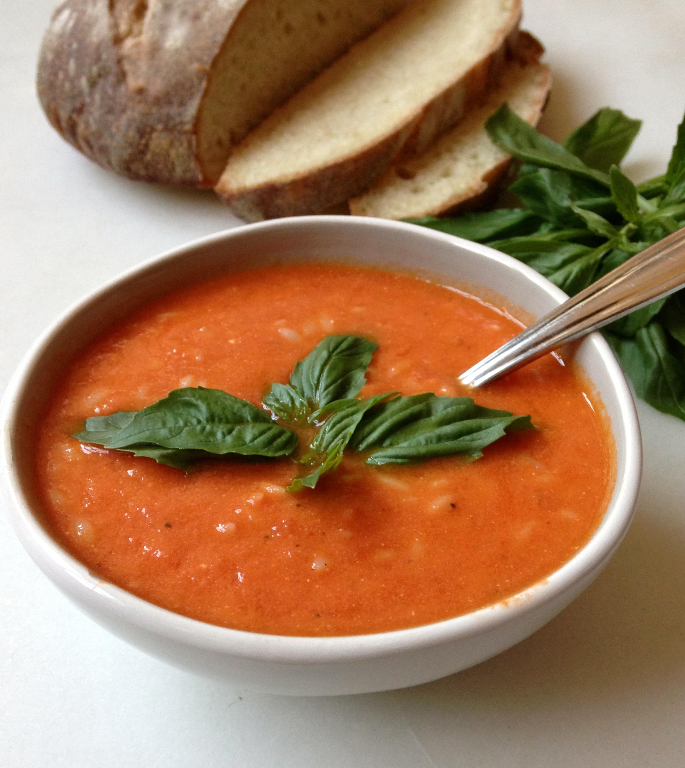 Creamy Tomato Orzo Soup made with Greek Yogurt   ChezCateyLou.com
