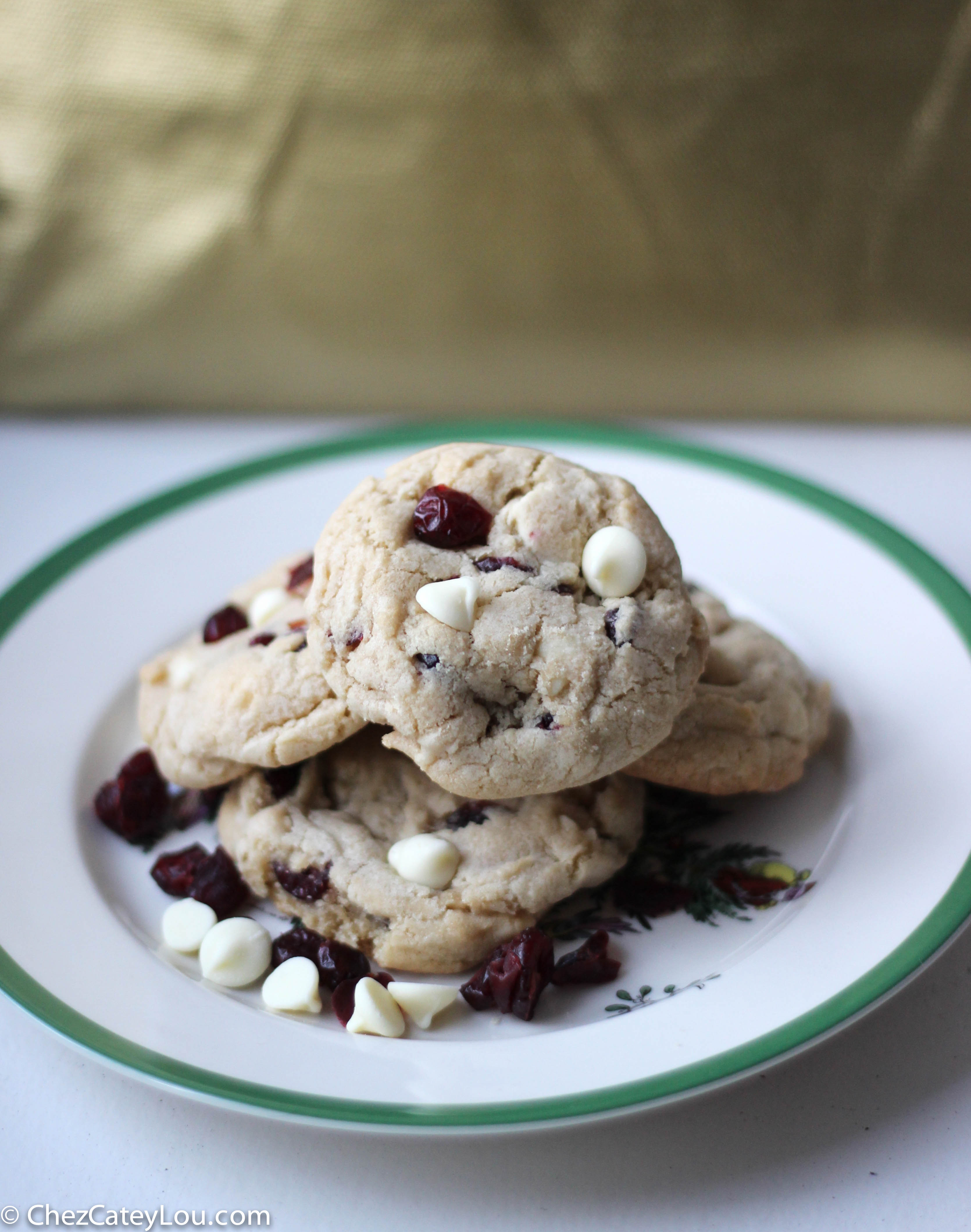 White Chocolate Cranberry Cookies for Christmas | ChezCateyLou.com
